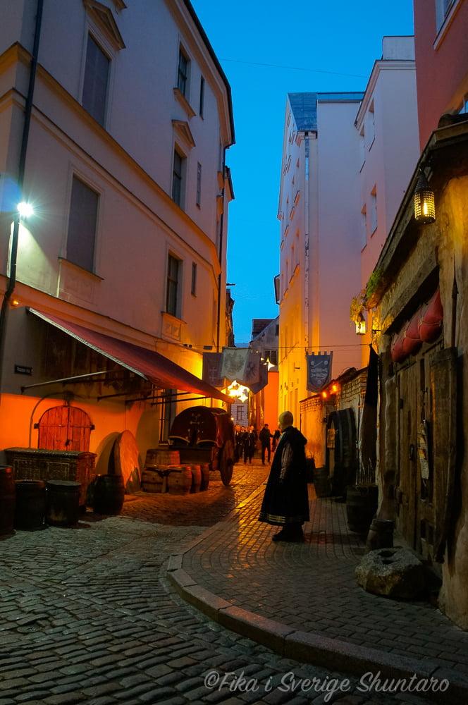 リガ旧市街の夜景