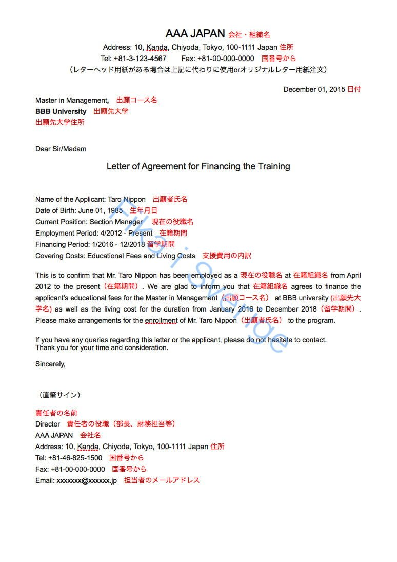 Letter of Agreement for Financing the Training
