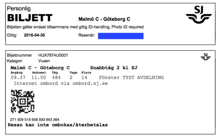 スウェーデン国鉄の切符