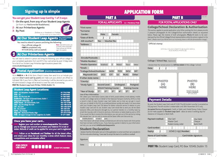 student leap card申請
