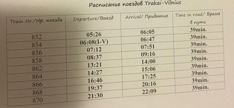 トラカイ発時刻表