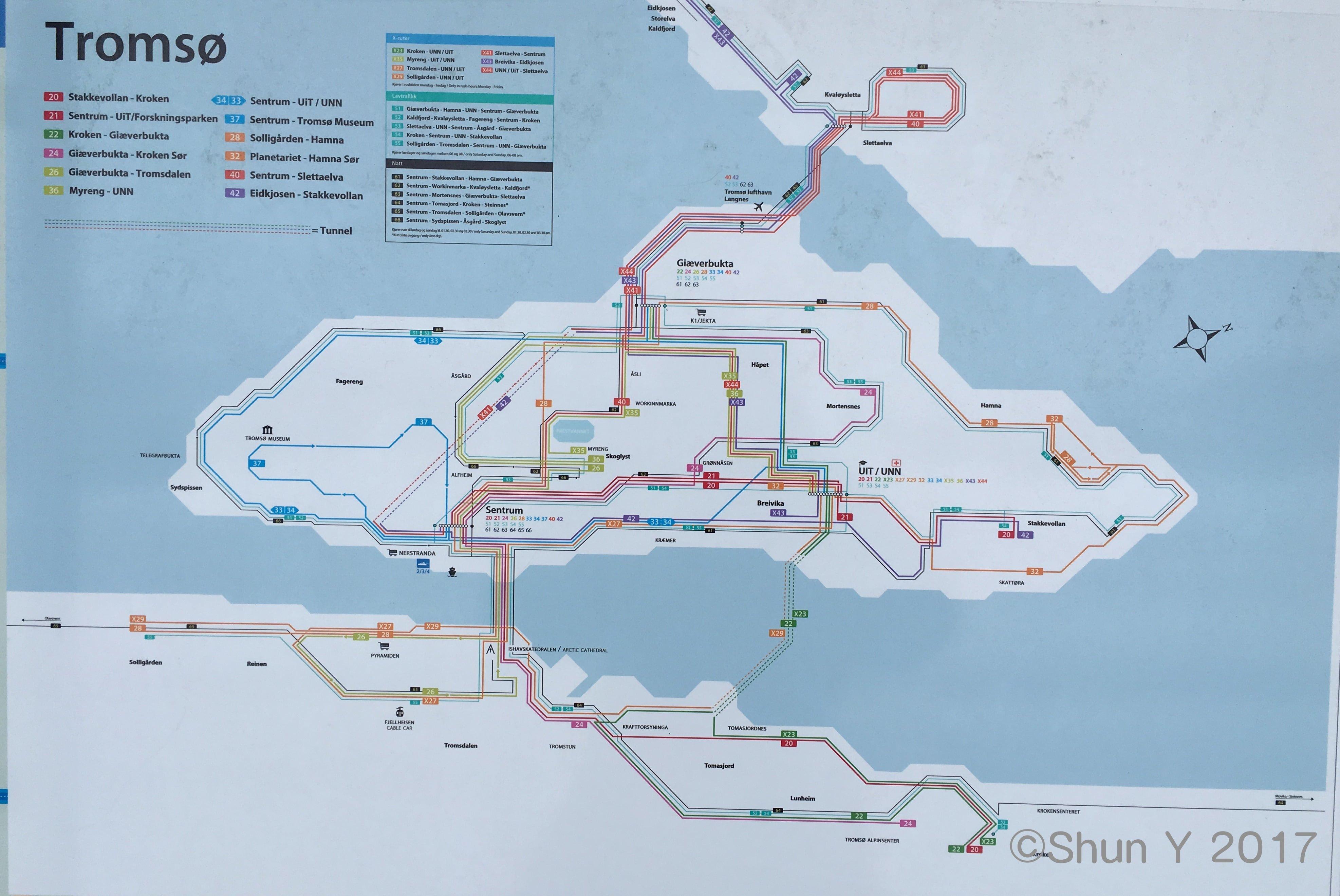 トロムソ路線バス路線網